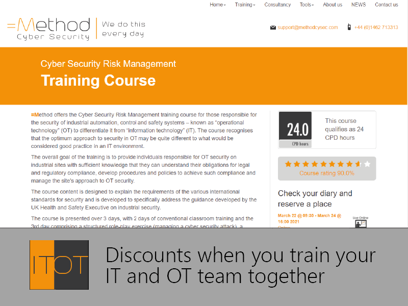 OT and IT Cyber Security combined training discount